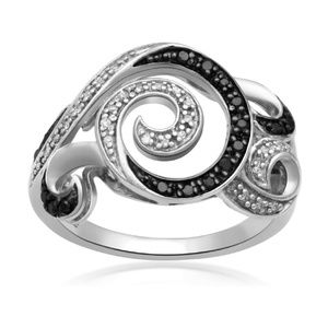 Sterling Silver Diamond Swirls Waves Ring Size 7